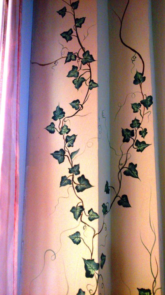 Decorazione con edera – Acrilico su parete 200x50