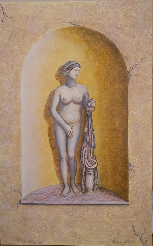 Statua romana in nicchia - Acrilico su legno 60x80
