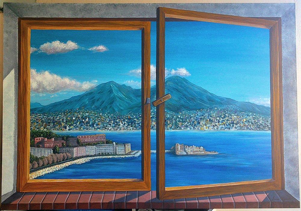 Golfo di Napoli - Acrilico su mdf 100x70