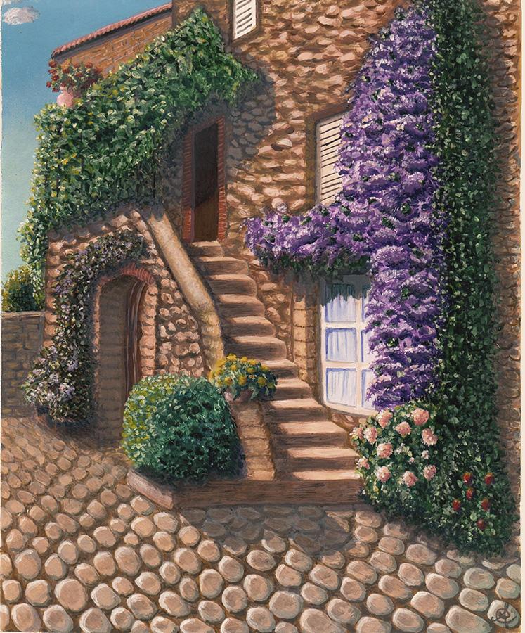 Casale fiorito - Acrilico su cartoncino 30×40 (2012)
