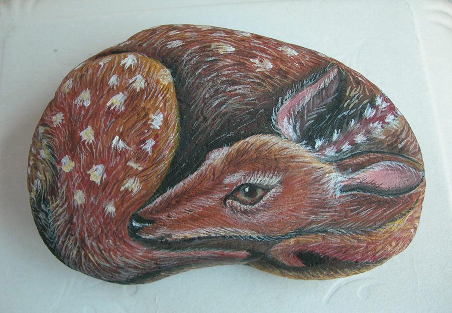 Cerbiatto - Acrilico su sasso