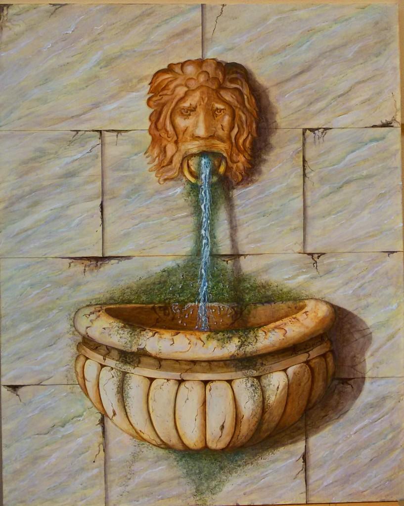 Fontana antica - Trompe l'oeil - Acrilico su legno 60x75