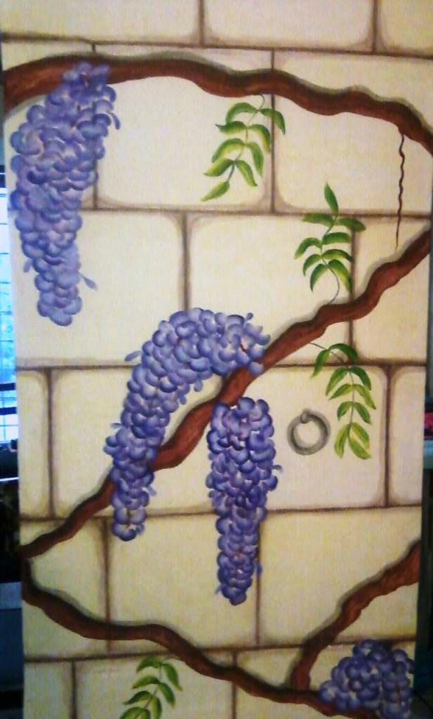 Glicini e mattoni – Acrilico su parete 200x70