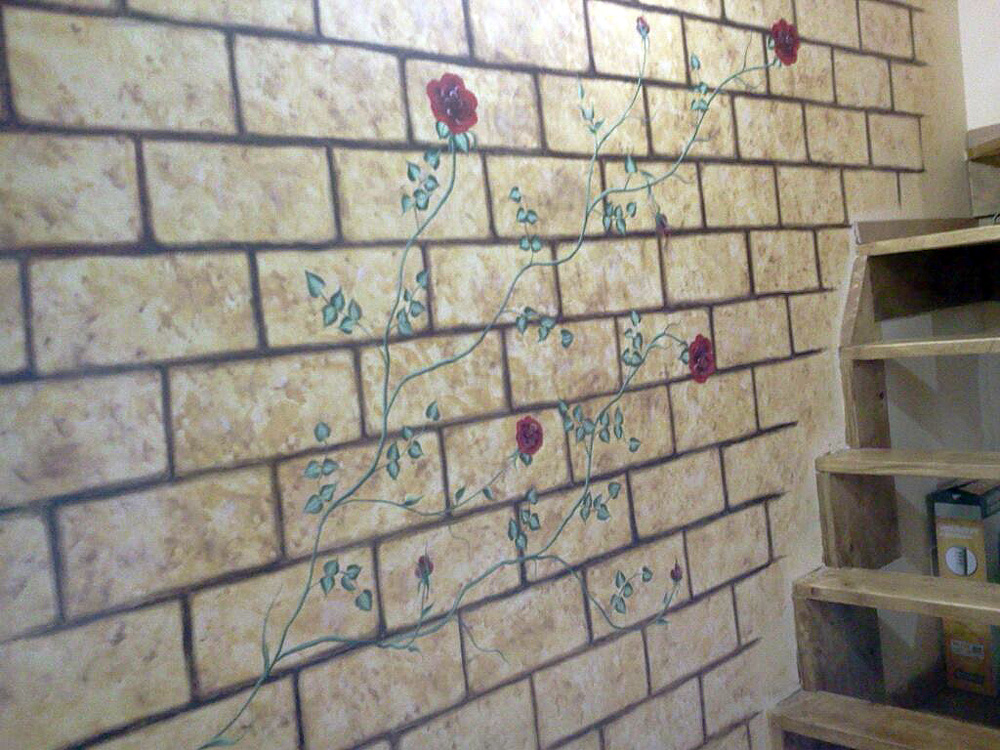 Rose e mattoni – Acrilico su parete 300x400