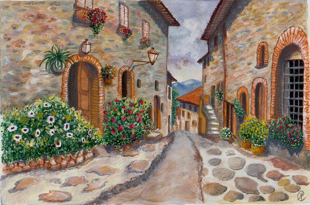 Strada di paese - Acrilico su cartoncino 30x40 (2012)